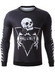 Halloween Skeleton Print Pullover Graphic Sweatshirts - BLACK XL
