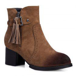 Vintage Engraving Tassel Side Zip Boots