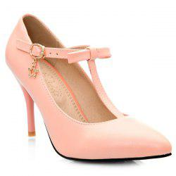 Bowknot T-Strap Stiletto Heel Pumps