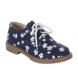 Canvas Floral Print Tie Up Flat Shoes - DEEP BLUE