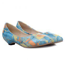 PU Leather Colour Spliced Flat Shoes - BLUE
