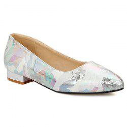 Printed Colour Spliced PU Leather Flat Shoes - OFF-WHITE