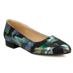 Printed Colour Spliced PU Leather Flat Shoes - BLACK