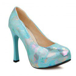 Chunky Heel PU Leather Printed Pumps