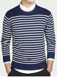 Striped Round Collar Long Sleeves Sweater - BLUE