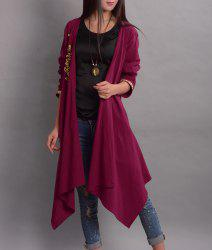 Floral Embroidered Asymmetrical Thin Coat