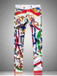 Plus Size Zipper Fly Colorful Belt Print Straight Leg Pants -