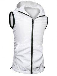 Brief Style Zipper Flying Hooded Casual Vest For Men - WHITE