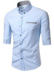 Turn-Down Collar Edging Design Shirt For Men - LIGHT BLUE
