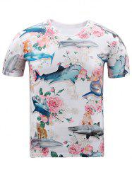 Round Neck 3D Shark and Flowers Print Short Sleeve T-Shirt - WHITE