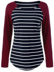 Raglan Sleeve Striped Comfy T-Shirt