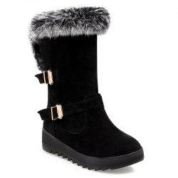 Buckles Faux Fur Hidden Wedge Snow Boots -