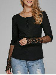 See Thru Lace Panel T-Shirt -