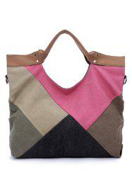 Color Splicing Patchwork Canvas Tote Bag