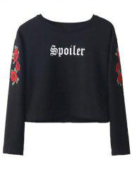 Embroidered Cropped Sweatshirt - BLACK L