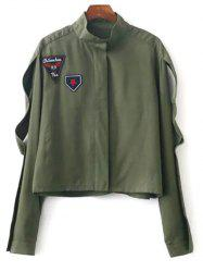 Stand Neck Patchwork Cropped Jacket - ARMY GREEN M