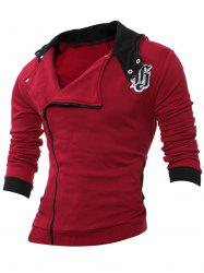 Side Zipper Design Long Sleeve Hoodie - WINE RED 4XL