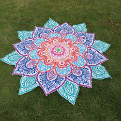 Multicolor Indian Mandala Paisley Lotus Shape Beach Throw - BLUE