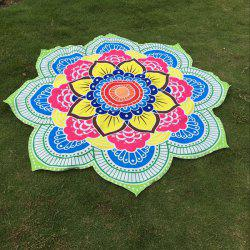Multicolor Indian Mandala Lotus Shape Plage Throw - Vert