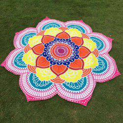 Multicolor Indian Mandala Lotus Shape Beach Throw - PINK
