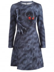 Halloween Skulls Print Long Sleeve Dress