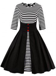 Midi Striped Formal Skater Cocktail Dress - BLACK