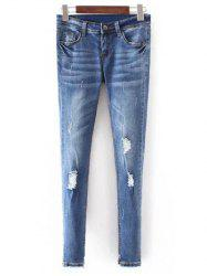 Slim Fit Distressed Jeans - BLUE