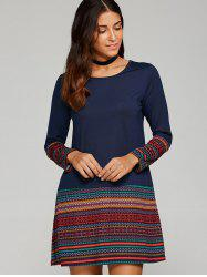 Tribal Print Trim Long Sleeve Dress