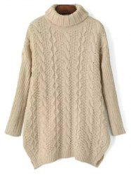 Turtle Neck Side Split Cable Knit Sweater -