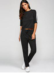 1/2 Sleeve T Shirt With Pants - BLACK
