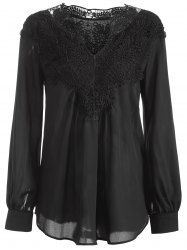 Long Sleeve Crochet Detail Lace Tunic Blouse - BLACK