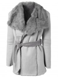 Belted Faux Lamb Wool Coat With Rabbit Fur - GRAY