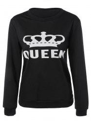 Round Neck Queen Crown Print Sweatshirt