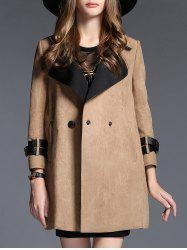 Lapel Pocket Design Suede Coat - CAMEL