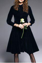 Button Fly Flare Velvet Dress -