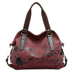 Buckles Colour Block Letter Printed Canvas Bag - CLARET VIOLET