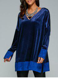 Deep V Neck Velvet Long Sleeve Tunic Dress - SAPPHIRE BLUE