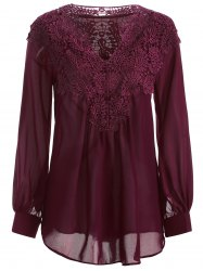 Long Sleeve Crochet Detail Lace Tunic Blouse - WINE RED