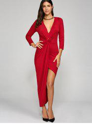 Maxi Prom Asymmetrical Knotted Bodycon Dress