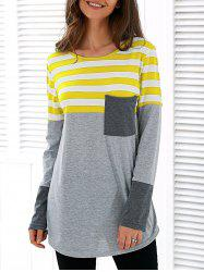 Patchwork Striped Long Sleeve Asymmetric T-Shirt -