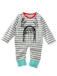 Baby Newborn Toddler Print Striped Long Sleeve Jumpsuit Bodysuit -