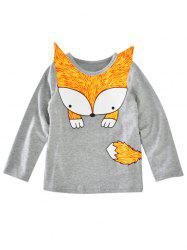 Crew Neck Fox Printed Long Sleeve T Shirt -
