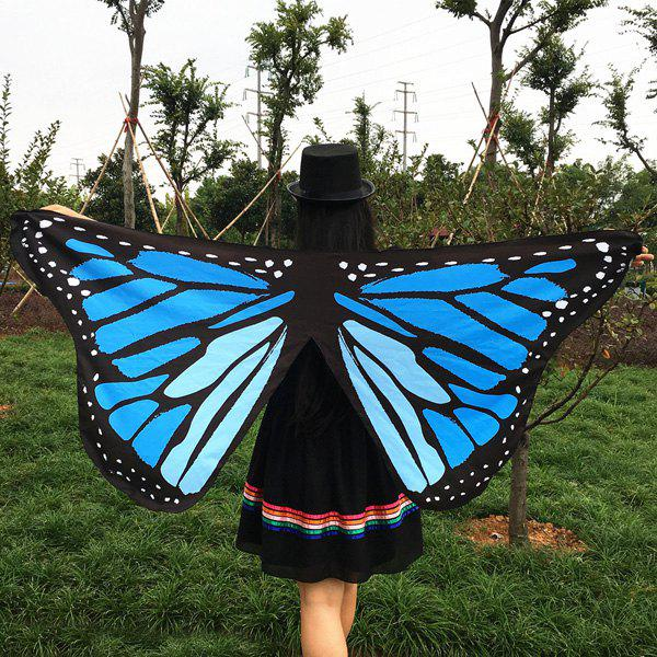 Butterfly Wings Shape ScarfACCESSORIES<br><br>Color: BLUE; Scarf Type: Scarf; Group: Adult; Gender: For Women; Style: Fashion; Material: Polyester; Season: Fall; Scarf Length: 65CM; Scarf Width (CM): 145CM; Weight: 0.150kg; Package Contents: 1 x Scarf;