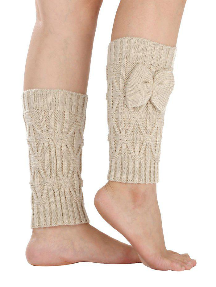 Outfit Warm Small Bowknot Rhombus Crochet Knit Boot Cuffs