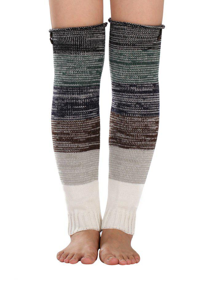 Discount Warm Buttons Color Block Striped Knit Leg Warmers