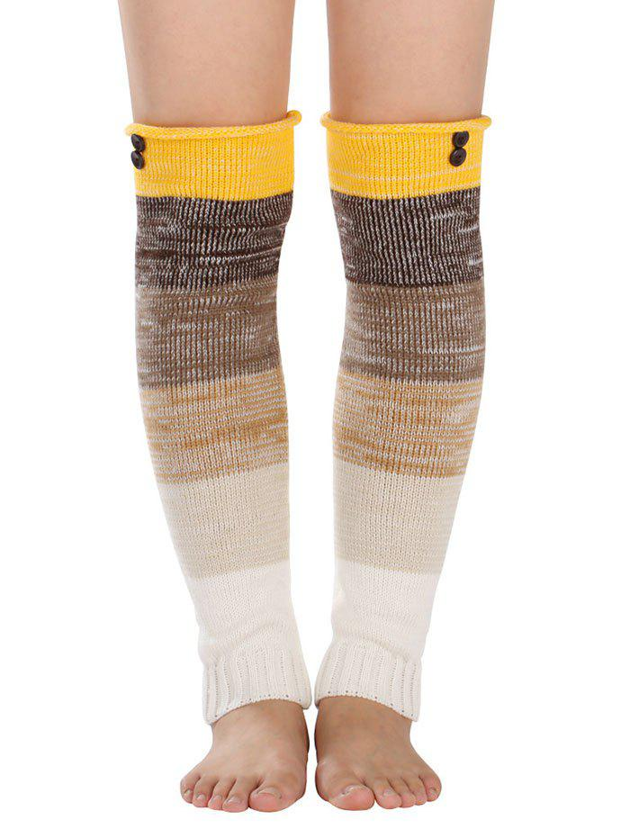 New Warm Buttons Color Block Striped Knit Leg Warmers
