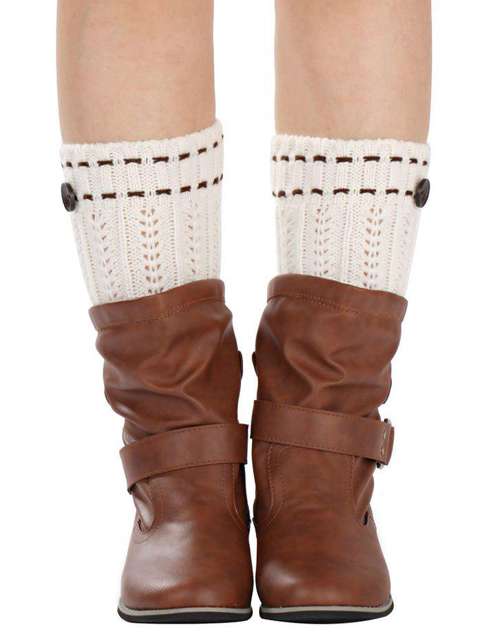 Buy Warm Button Embellished Wheat Crochet Knit Boot Cuffs