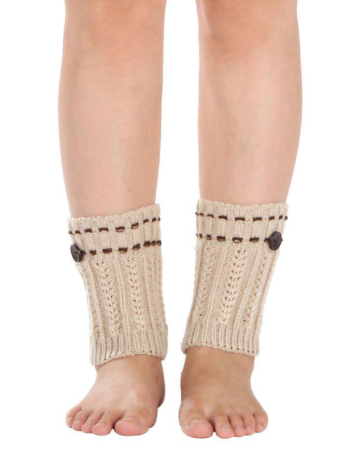 Outfits Warm Button Embellished Wheat Crochet Knit Boot Cuffs