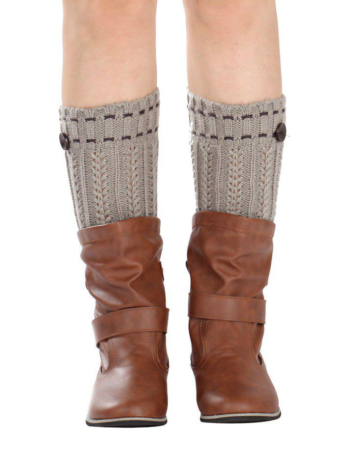 Cheap Warm Button Embellished Wheat Crochet Knit Boot Cuffs