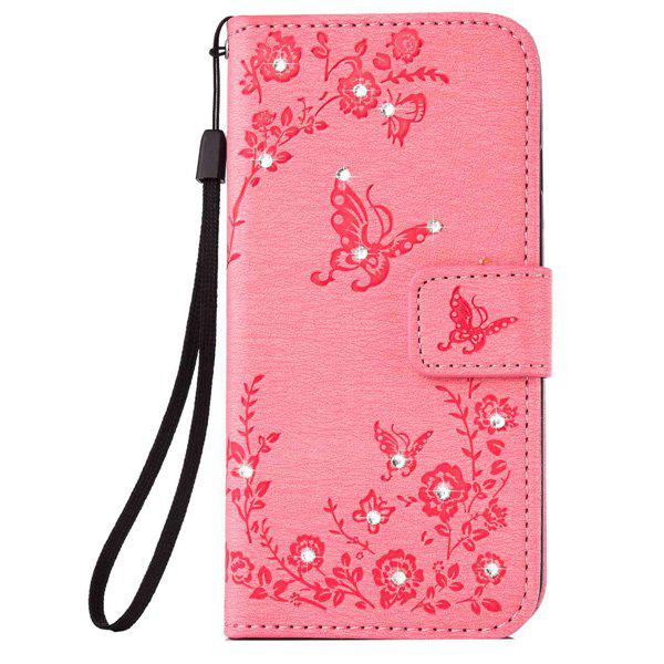 Chic Floral Rhinestone Wallet Design Phone Case For iPhone 6S Plus